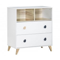 Commode 2 tiroirs 2 niches OSLO boutons goutte d'eau